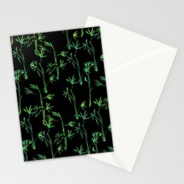 Modern lime green black chinese bamboo tree Stationery Cards