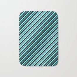 Electric Blue and Black Diagonal RTL Var Size Stripes Bath Mat