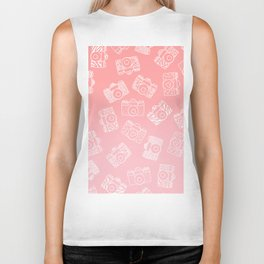 Girly modern hand drawn cameras pattern on pink blush ombre Biker Tank