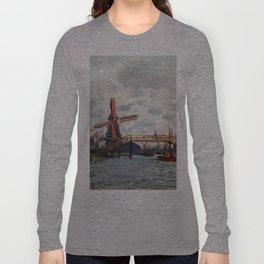 1871-Claude Monet-Mills at Westzijderveld near Zaandam Long Sleeve T-shirt