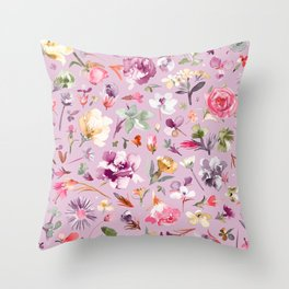 Blooming spring flowers lilac Throw Pillow