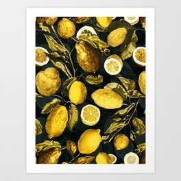 Lemon and Leaf Pattern V Art Print