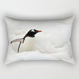 Gentoo Penguin Walking Through the Snow to the Sea Rectangular Pillow