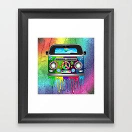 Hippie Bus Van Dripping Rainbow Paint Framed Art Print