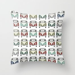 happy camper – A colourful montage pattern of vintage camper vans Throw Pillow