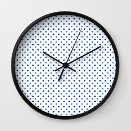 Geometrical trendy navy blue white polka dots pattern Wall Clock