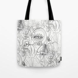 line art abstract, black white gray grey Tote Bag