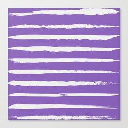Irregular Hand Painted Stripes Purple Canvas Print