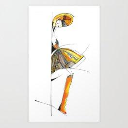 """The mystery of the orange hat""  Art Print"