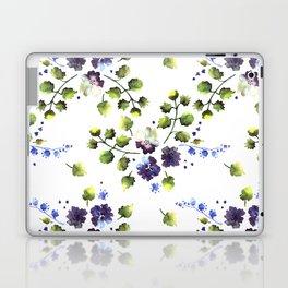 Watercolor decorative blue flowers heart Laptop & iPad Skin