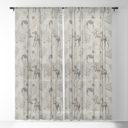 GRAY GREYHOUNDS & Botanical illustration pattern  Sheer Curtain