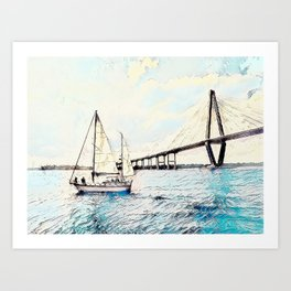 Charleston South Carolina - Sailboat - Arthur Ravenel Jr Bridge Art Print