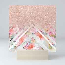 Modern rose gold glitter ombre floral watercolor white marble triangles Mini Art Print
