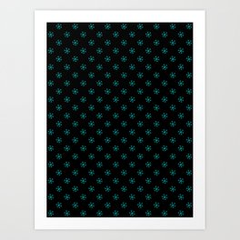 Cyan on Black Snowflakes Art Print