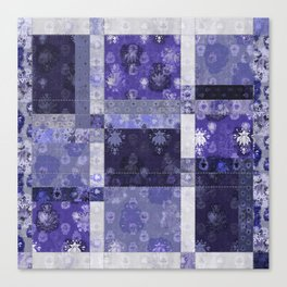 Lotus flower blue stitched patchwork - woodblock print style pattern Canvas Print