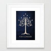 gondor Framed Art Prints featuring For Gondor by enthousiasme