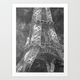 Eiffle Tower by Lu, Black and White Art Print