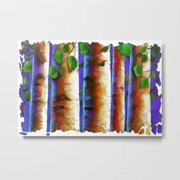 Aspen Trees Fresco Metal Print