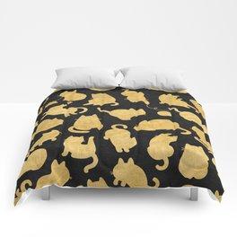 Gold on Black Kitty Pattern Comforters