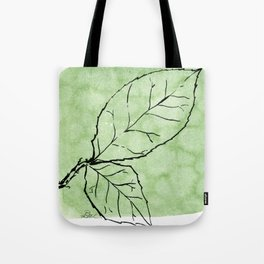 Two Leaves on Green Tote Bag
