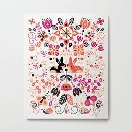 Bunny Lovers – Peach & Black Palette Metal Print