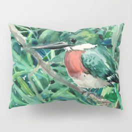 Green Kingfisher in Nature, green design Pillow Sham