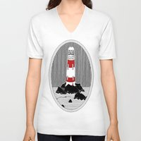 lighthouse V-neck T-shirts featuring Lighthouse by Aidan Meighan