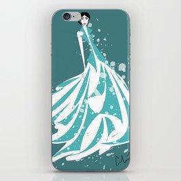 Teal Fashion Illustration iPhone Skin