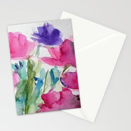 Meadow With Flowers Watercolor Stationery Cards