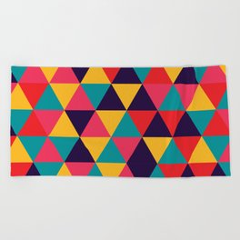 Colorful Triangles (Bright Colors) Beach Towel