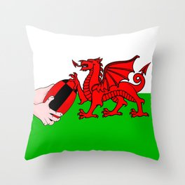 Wales Rugby Flag Throw Pillow