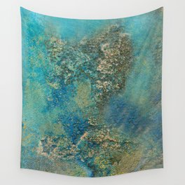 Blue And Gold Modern Abstract Art Painting Wall Tapestry