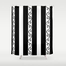 Stripes and Thorny Vines by Dark Decors - Black and Whites Shower Curtain