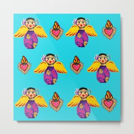 Angels and Hearts Turquoise Metal Print