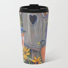 Birds and Birdhouse Travel Mug