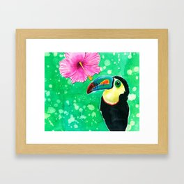Toucan parrot with hibiscus in watercolor Framed Art Print