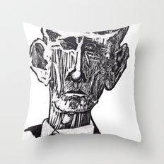 Old man woodblock Throw Pillow
