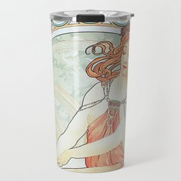 Painting by Alphonse Mucha 1898 // Retro Woman with a Flower Geometric Circle Abstract Travel Mug
