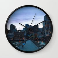 metropolis Wall Clocks featuring Metropolis by Pan Kelvin