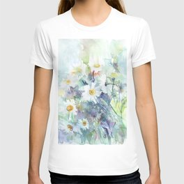 watercolor drawing - white daisies, beautiful bouquet, painting T-shirt