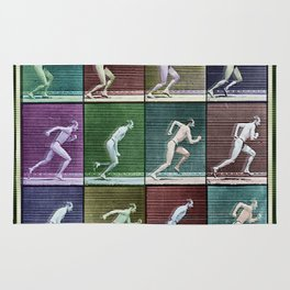Time Lapse Motion Study Man Running Monochrome Rug