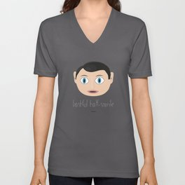 FRANK. BASHFUL HALF-SMILE Unisex V-Neck