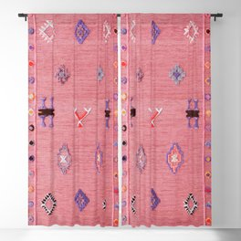 Pink Oriental Traditional Boho Moroccan Style Design Artwork Blackout Curtain