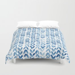 Blue Chevron Watercolour Duvet Cover