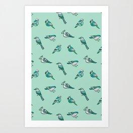 doodle birds - mint Art Print