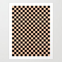 Black and Deep Peach Orange Checkerboard Art Print