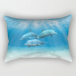 Pod Of Swimming Dolphins Rectangular Pillow