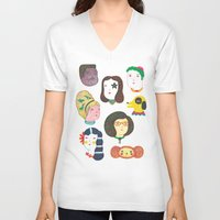 talking heads V-neck T-shirts featuring Heads by Ana Albero