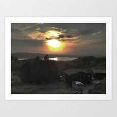 Sunset and Cabin Art Print