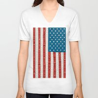 flag V-neck T-shirts featuring USA by Bianca Green